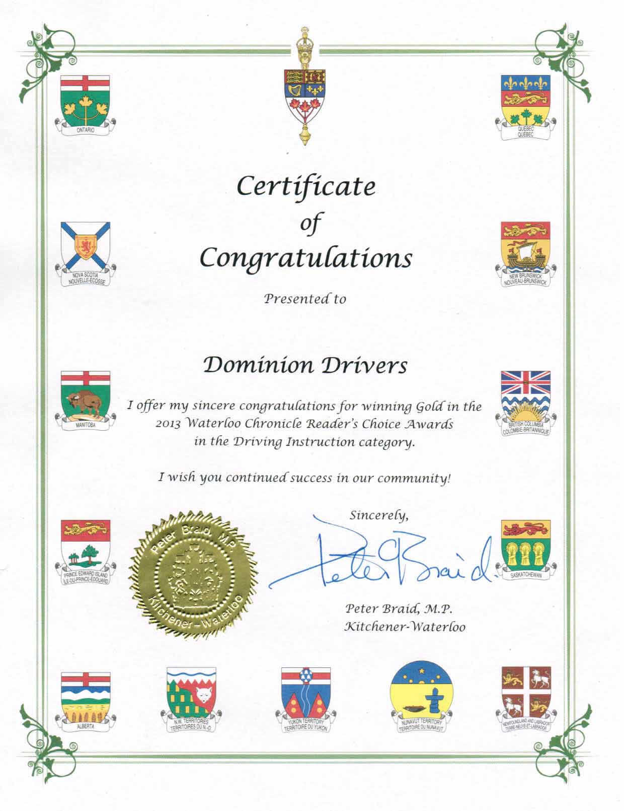 Awards & Certification of Dominion Driving Schools, Kitchener ...